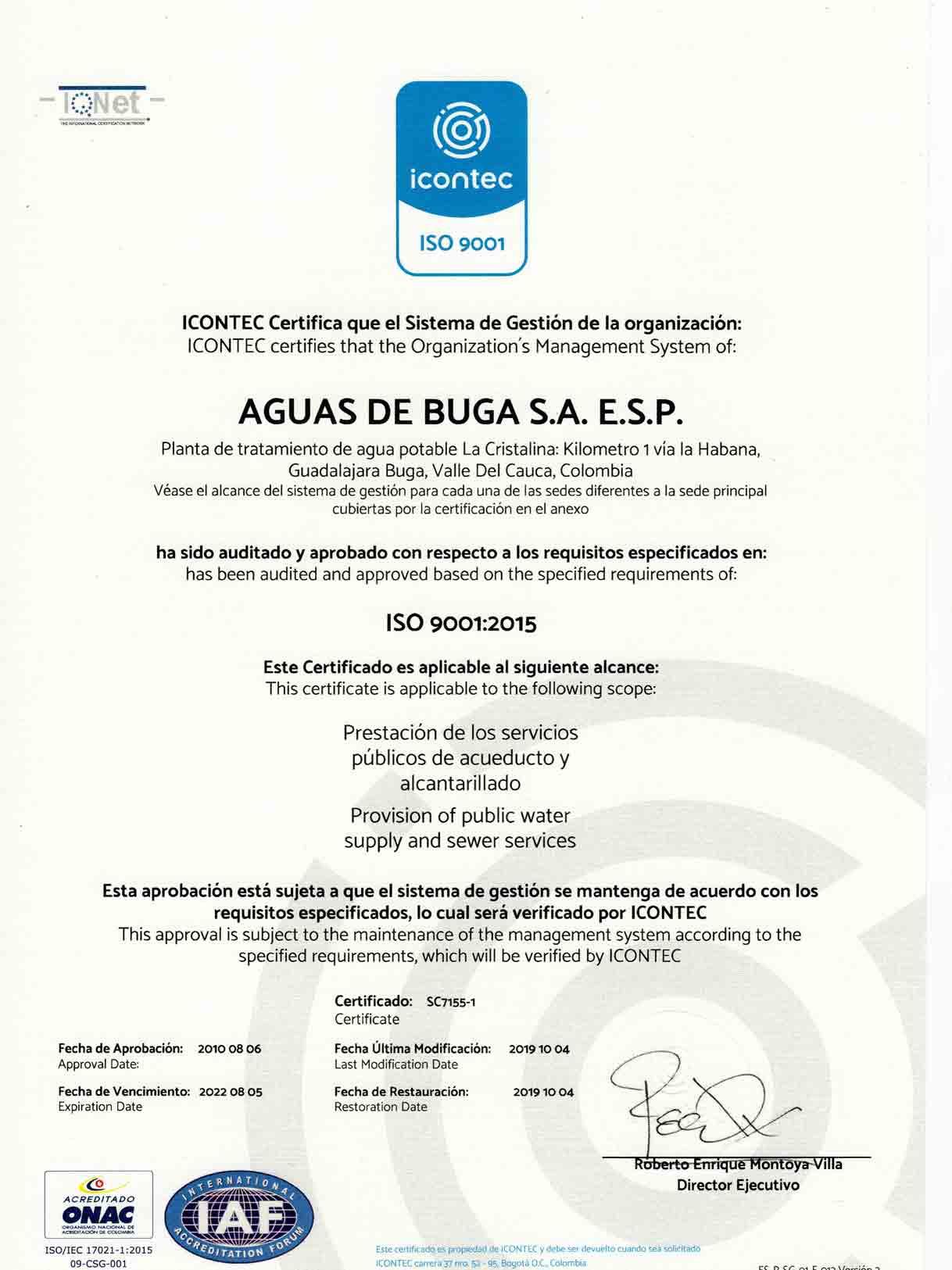 Icontec-Aguas de Buga